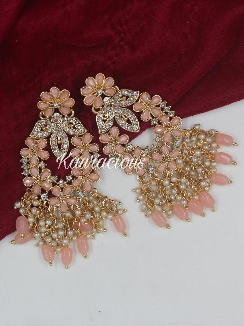 Pearl Beaded Stone Studded Traditional Earrings   Kauracious.com