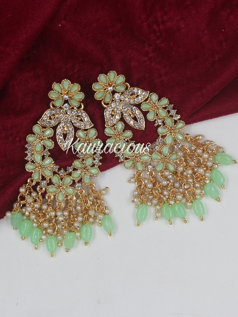 Pearl Beaded Stone Studded Traditional Earrings | Kauracious.com