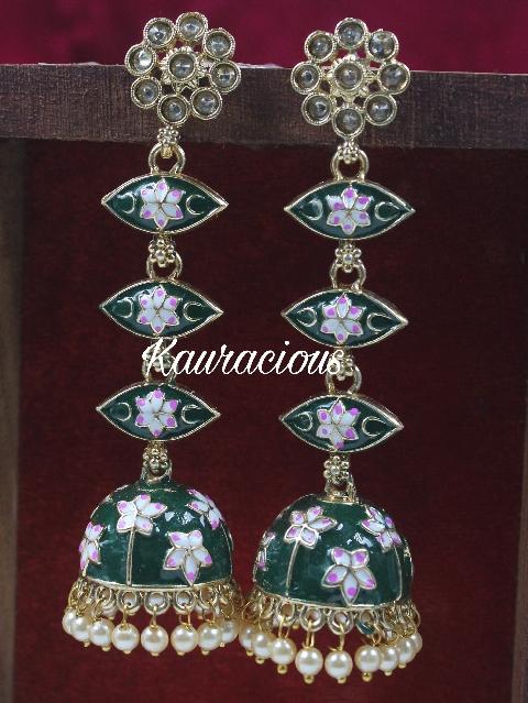 Traditional Sleek Meenakari Earrings | Kauracious.com