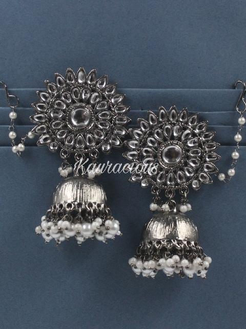 Floral Stud Style Black Metal Jhumki Earrings | kauracious.com