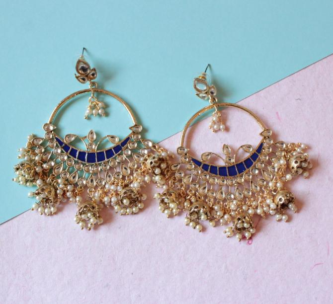 Hoop Style Five Jhumki Kundan Earrings | Kauracious.com
