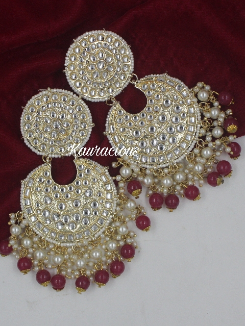 Oversized Dabi Kundan Jhumka Earrings | Kauracious.com