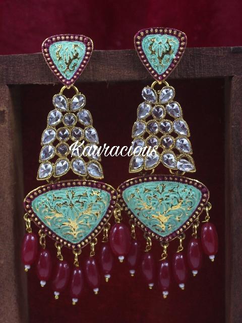 Polki studded Meenakari Dangler Earrings | Kauracious.com