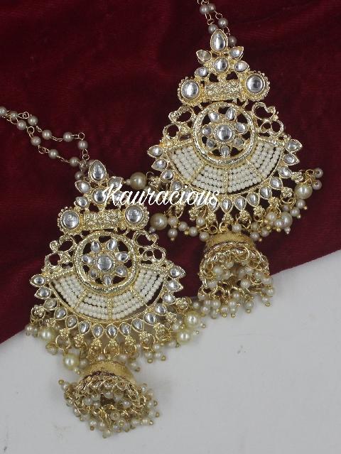 White Pearl Jhumka Earrings With Saharas   Kauracious.com