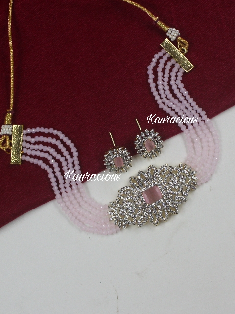 American Diamond Studded Onyx Choker Set With Studs | kauracious.com