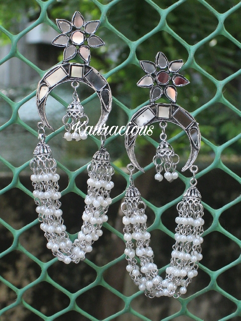 Pearl Layered Mirror Earrings | kauracious.com