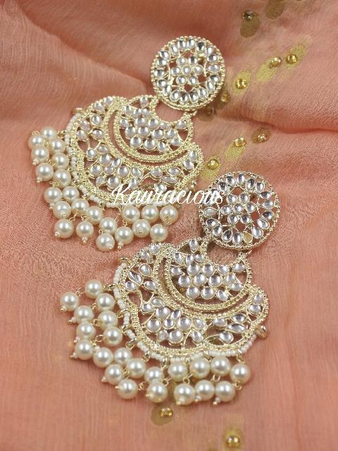 Long Kundan Earrings   Kauracious.com