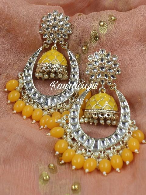 Jhumki Style Chandbali Earrings   Kauracious.com
