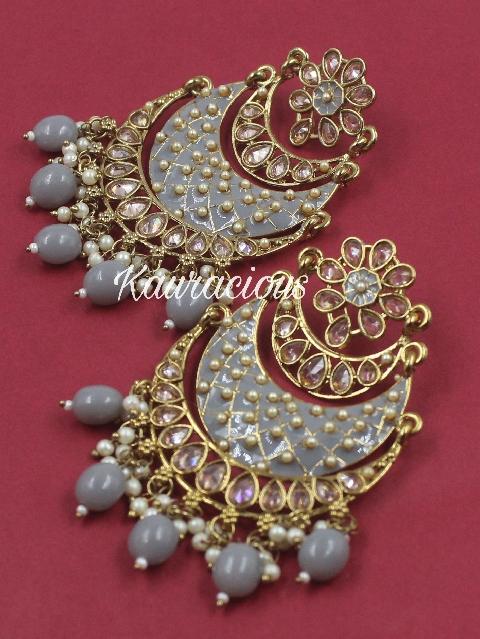 Polki Studded Meena Chandbali | Kauracious.com