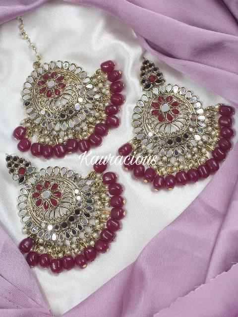 Wine Coloured Shaheen Maangtikka & Earrings Set   Kauracious.com