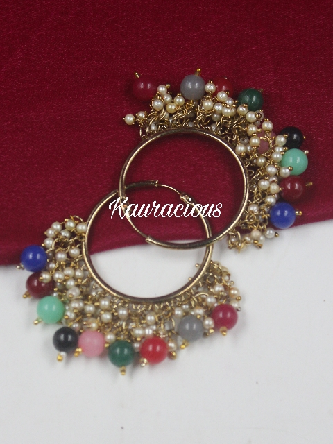 Pearly Traditional Hoop Earrings   Kauracious.com