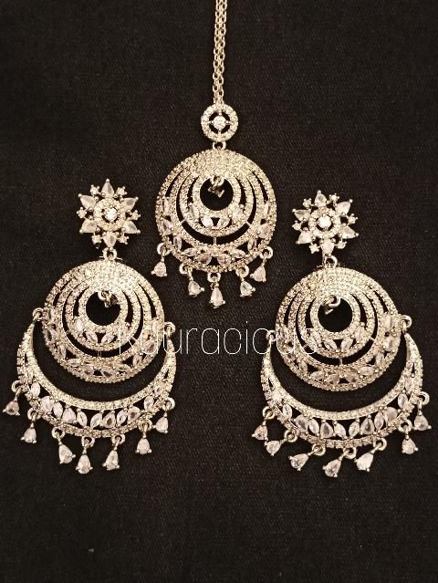 Rodium plated American Diamond Chandbali And Maang Tikka Set   Kauracious.com