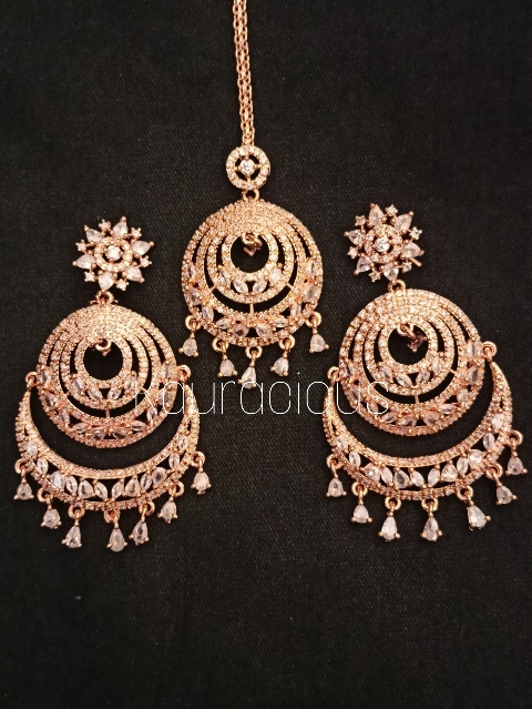 Rose gold plated American Diamond Chandbali And Maang Tikka Set | Kauracious.com
