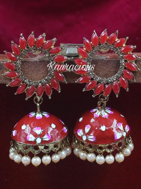 Chakra Meenakari Jhumki Earrings   Kauracious.com