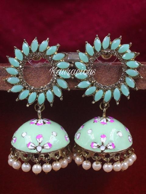 Chakra Meenakari Jhumki Earrings | Kauracious.com