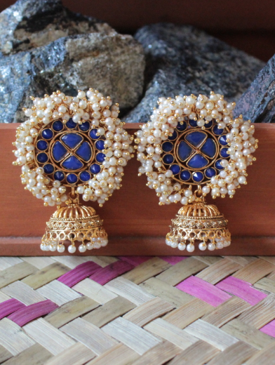 Artificial stone pearl beaded jhumki earrings | kauracious.com