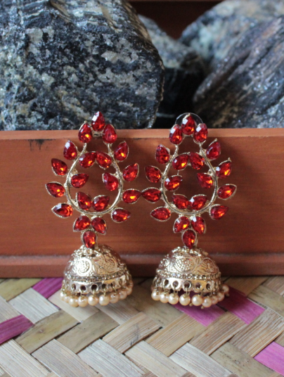 Leaf Pattern Jhumki Earrings | kauracious.com