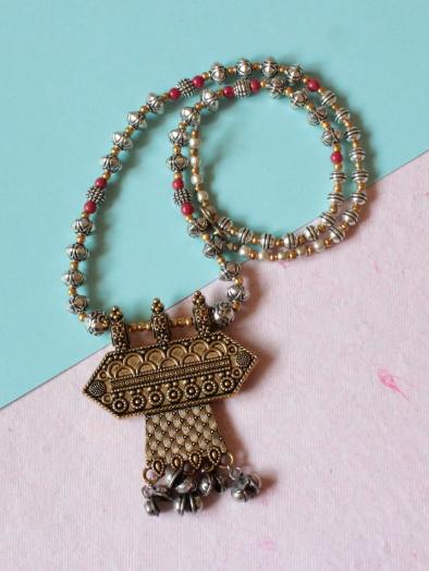 Dual Tone Red Beads Brass Neckpiece | kauracious.com