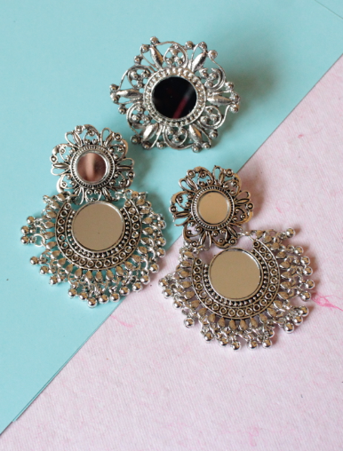 Mirror Combo of Earrings and Oversized Ring | kauracious.com