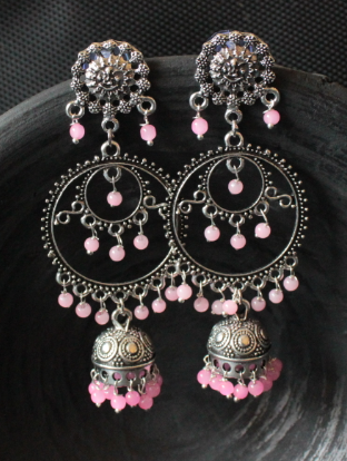 Oxidised Silver baby pink pearl studded danglers | kauracious.com
