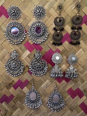 Pack of 5 regular wear oxidised earrings | kauracious.com