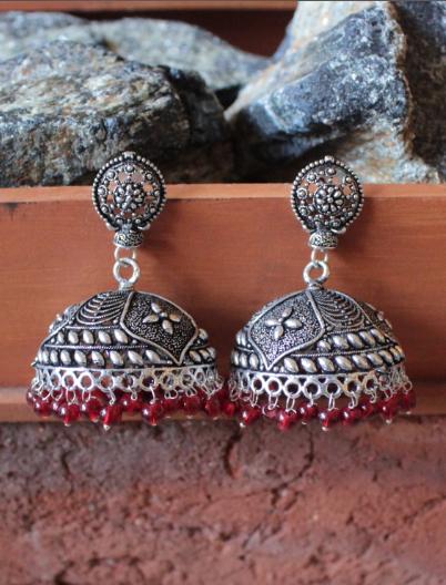 Brass based dome shaped big jhumki Earrings   Kauracious.com
