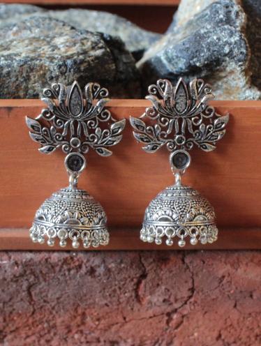 Big Lotus Stud Style Oxidised Jhumki | Kauracious.com