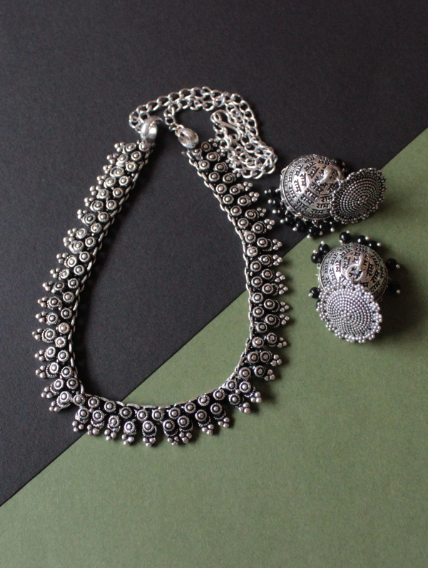 Oxidised necklace set with ram carved medium sized jhumki | Kauracious.com