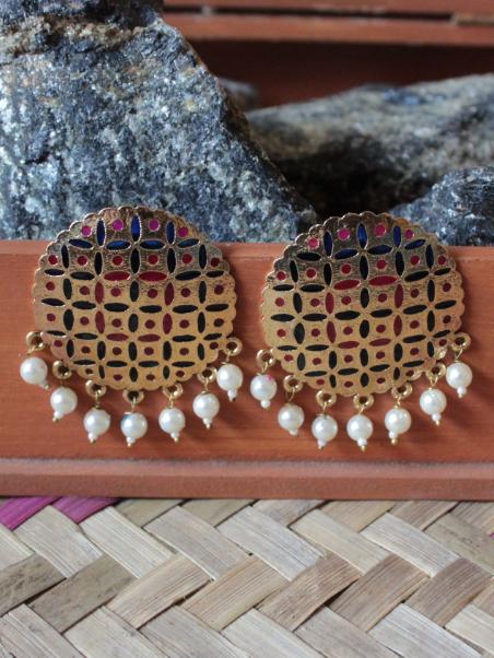 Gold based pink & blue enamel Big Traditional Studs Earrings | Kauracious.com
