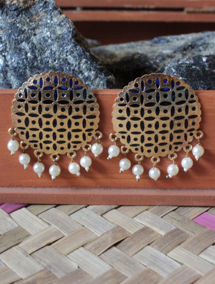 Gold based blue enamel big traditional studs earrings  | kauracious.com