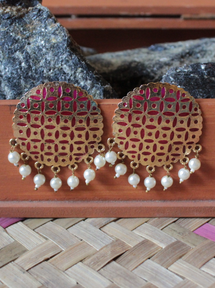 Gold based pink enamel big traditional studs earrings  | Kauracious.com