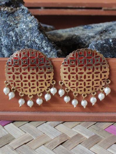 Gold based orange enamel big traditional studs earrings  | Kauracious.com
