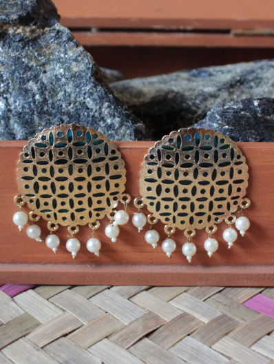 Gold based peacock green enamel big traditional studs earrings  | Kauracious.com