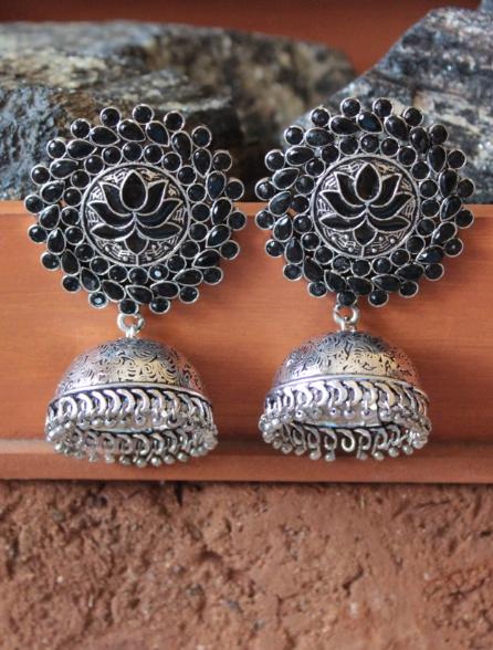 Black stone studded Lotus Carved Big Stud Style Jhumki Earrings | Kauracious.com