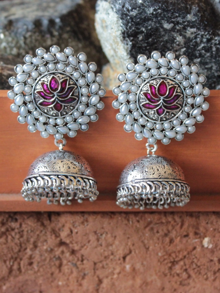 White stone studded Lotus Carved Big Stud Style Jhumki Earrings | Kauracious.com