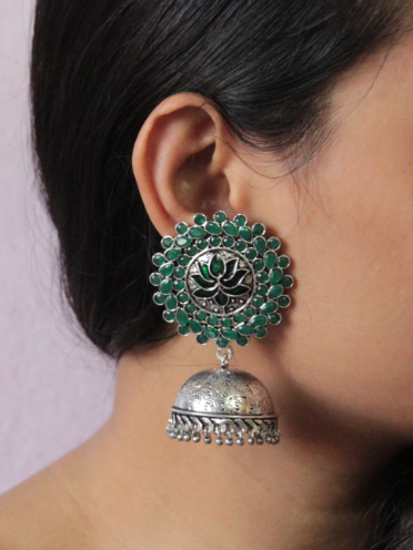 Green stone studded Lotus Carved Big Stud Style Jhumki Earrings   Kauracious.com
