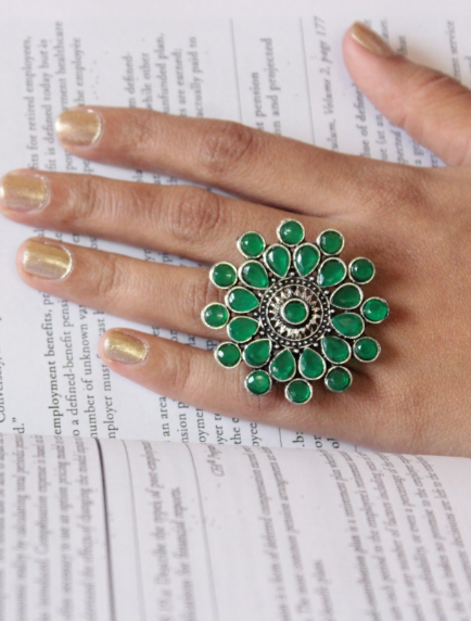 Floral Shaped artificial stone studded oversized ring   Kauracious.com