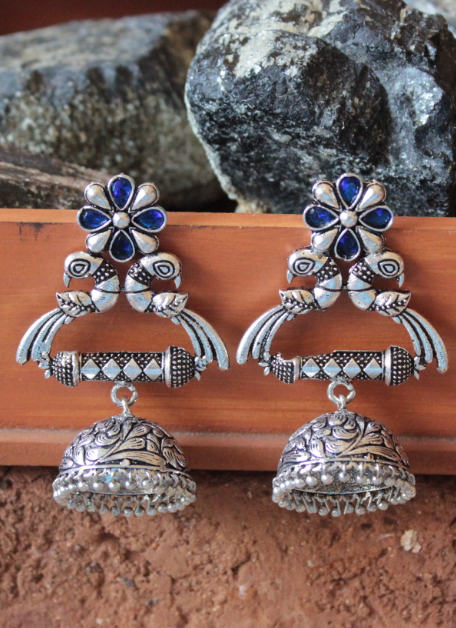 Brass based floral stud style big Peacock jhumki earrings | Kauracious.com