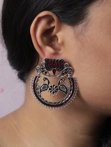 Lotus Stud Style Oxidised Meenakari Earrings | Kauracious.com