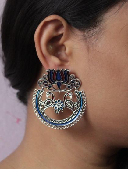 Blue & Red combination Lotus Stud Style Oxidised Meenakari Earrings | Kauracious.com