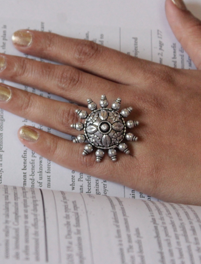 German Silver based Big Chakra Ring | kauracious.com