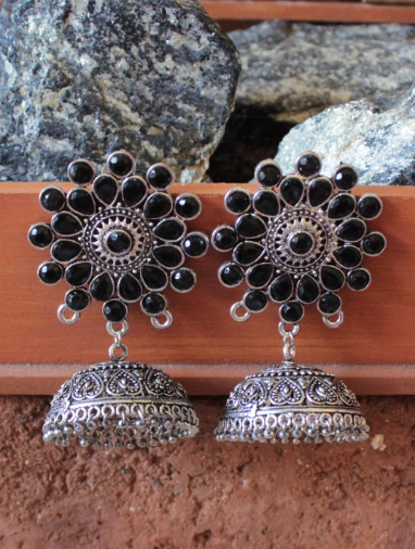 Floral Shaped Artificial Stone Studded big jhumka earrings | Kauracious.com